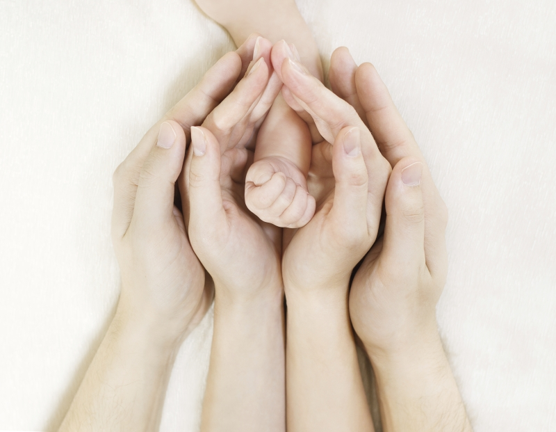 Parent's hands holding baby's hand